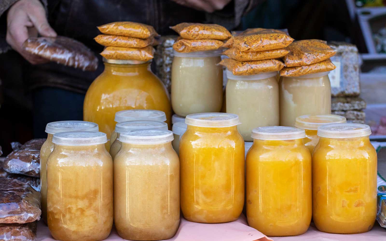 jars of fresh honey
